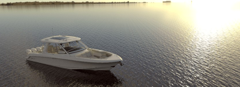 Boston Whaler 380 Realm ormeggiato