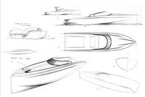 Gli schizzi del Domani E32, una barca elettrica e moderna che si ispira ai grandi classici del mondo dei motoscafi