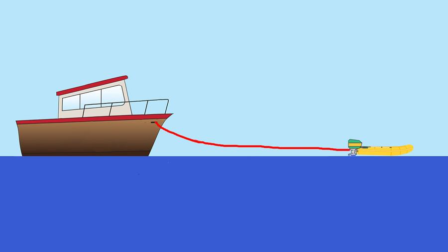 Trainare la barca con il tend towing the boat with the tender